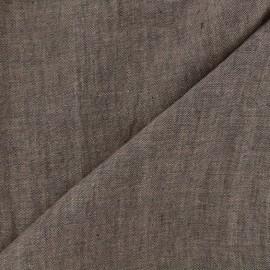 Tissu Chambray lin - brun x 10cm