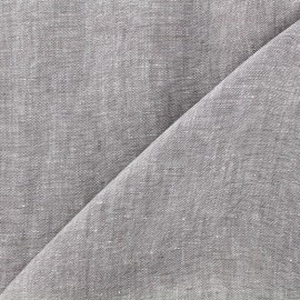 Tissu Chambray lin - gris clair x 10cm