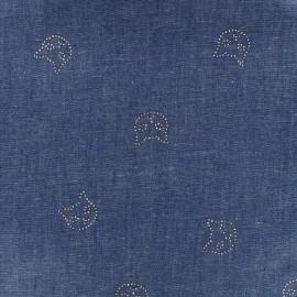Tissu Jeans fluide Shiny cats - bleu foncé x 10cm