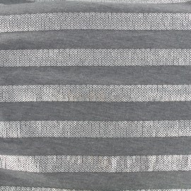 Jersey Fabric Sparkle lines - grey x 10 cm