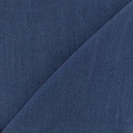 Tissu viscose chambray denim - bleu marine x 10cm