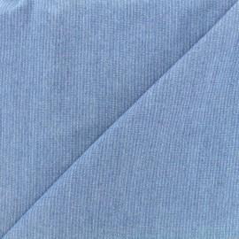 Tissu viscose chambray denim rayures - bleu clair x 10cm