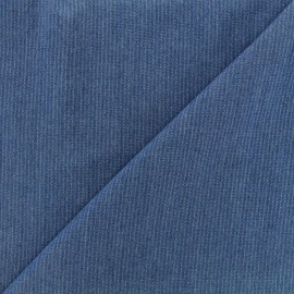 Viscose chambray fabric Denim stripes - dark blue x 10cm