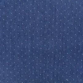 Tissu viscose chambray denim mini pois - bleu foncé x 10cm