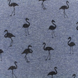 Mocked sweat with minkee reverse side Fabric Flamingo glitter black - blue x 10cm