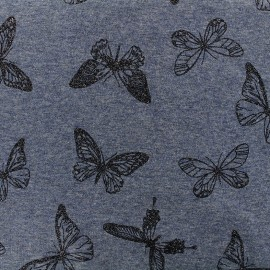 Mocked sweat with minkee reverse side Fabric Butterfly glitter black - blue x 10cm