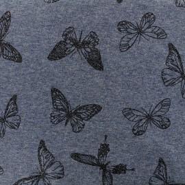Tissu sweat envers minkee chiné Butterfly glitter noir - bleu x 10cm