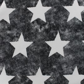 Tissu sweat envers minkee used Stars - noir x 10cm