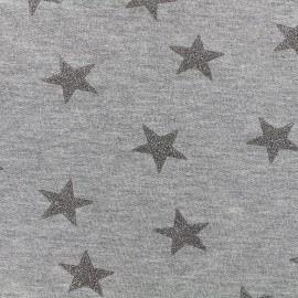 Tissu sweat léger Etoile Glitter - argent x 10cm