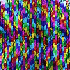 Sewn Sequin Fabric Party - multicolore x 10cm