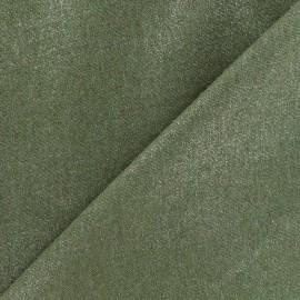 Tissu lin pailleté - kaki x 10cm