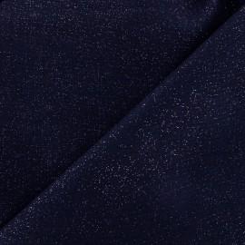 Tissu lin pailleté - marine x 10cm