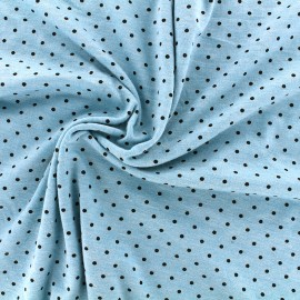 mocked viscose jersey fabric petit pois - navy/azur x 10cm