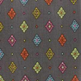 Coated cotton fabric Calissons - grey x 10cm