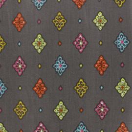 Tissu enduit coton Calissons - gris x 10cm