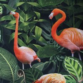 Tissu toile coton impression digitale Poppy - Flamingo x 31cm