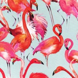 Tissu toile coton impression digitale Poppy - Pink flamingo x 35cm
