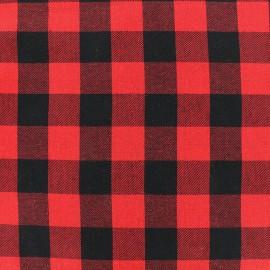 Tissu coton tartan Damier - rouge/noir x 10cm