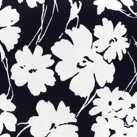 Tissu Gabardine Lycra légère Blossom - noir x 10cm
