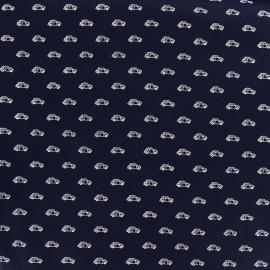 Tissu popeline Mini Cars - marine x 10cm