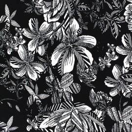 Chemisier Viscose Fabric Flowers - black x10cm
