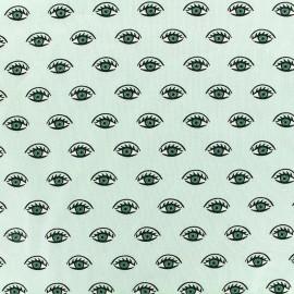 Tissu jersey Poppy Shining eyes - vert x 10cm