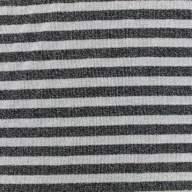 Tissu jersey maille lurex rayures - noir x 10cm