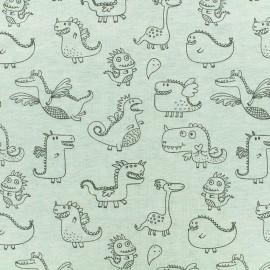 Tissu jersey Poppy Cute dragons - vert clair chiné x 10cm