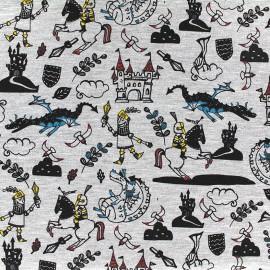 Tissu jersey Poppy Knight & Dragon - gris clair chiné x 15cm