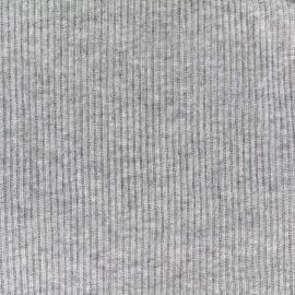 Tissu jersey maille cotelé chiné - gris clair x 10cm