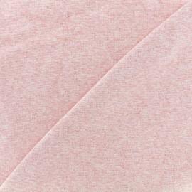 Jersey tubulaire bord-côte 1/1 - rose chiné x 10cm