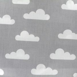 Tissu coton popeline Nuage - gris x 10cm