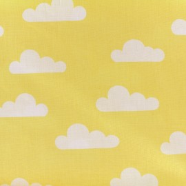 Tissu coton popeline Nuage - jaune x 10cm