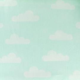 Tissu coton popeline Nuage - vert d'eau x 10cm