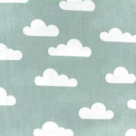 Tissu coton popeline Nuage - vert sauge x 10cm