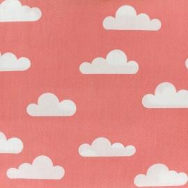 Tissu coton popeline Nuage - corail x 10cm
