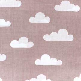 Tissu coton popeline Nuage - vieux rose x 10cm