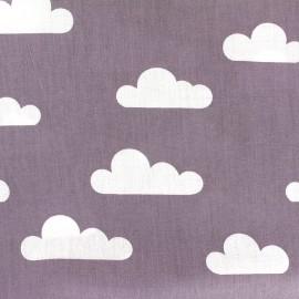 Tissu coton popeline Nuage - parme x 10cm