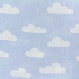 Tissu coton popeline Nuage - bleu ciel x 10cm