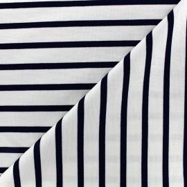 Tissu jersey réversible Marinière - marine/écru x 10cm