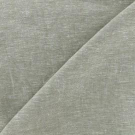 Plain light linen viscose fabric - grey green x 10cm