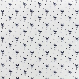 Tissu coton popeline Flamingo - blanc/noir x 10cm