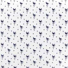 Cotton fabric  Flamingo - navy/white x 10cm