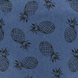 Fluid jeans fabric Pineapple - dark blue x 10cm
