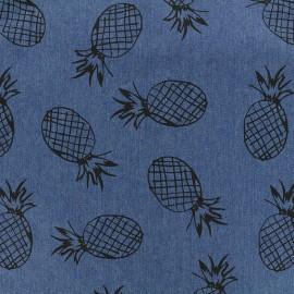 Tissu Jeans fluide Pineapple - bleu foncé x 10cm