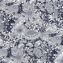 Cotton poplin fabric Blossom garden - navy x 10cm