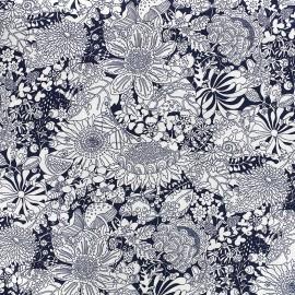 Tissu coton popeline Blossom garden - marine x 10cm