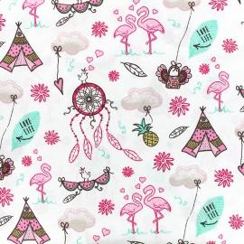 Poppy cotton fabric Flamingo Dreams - pink x 10cm