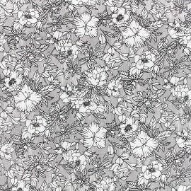 Tissu Gabardine Lycra légère Fleurie - gris x 10cm
