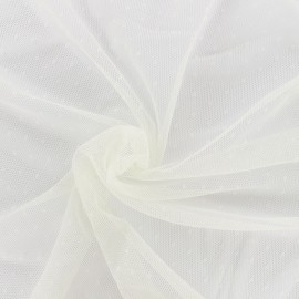 Bran mini point d'esprit tulle fabric - ecru x 10cm